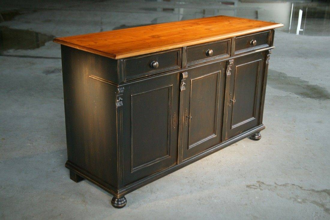 Custom Made Black Kitchen Island From Reclaimed Pine Sideboard Inside Black Brown Sideboards (View 9 of 15)