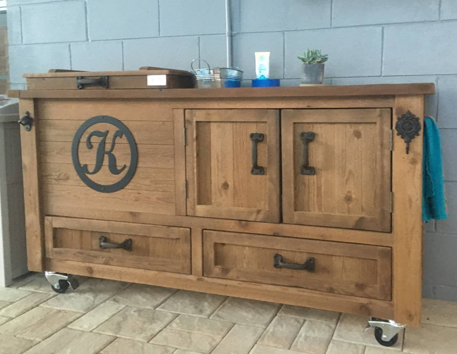 Custom Outdoor Cabinet Rustic Cooler Outdoor Bar Cart Pertaining To Outdoor Sideboard Tables (View 5 of 15)