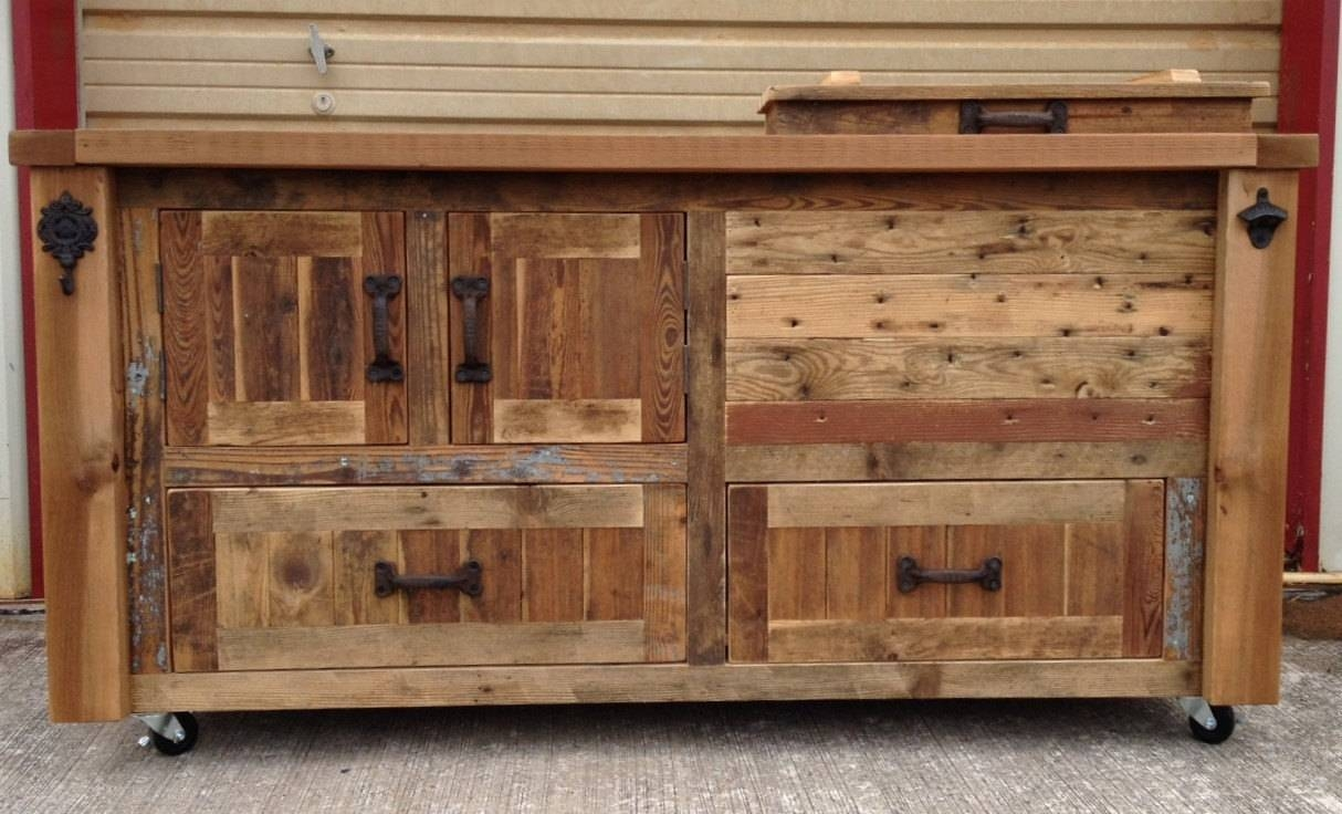 Custom Reclaimed Or Barnwood Furniture Bar Cabinets Wooden inside Bar Sideboards (Image 3 of 15)
