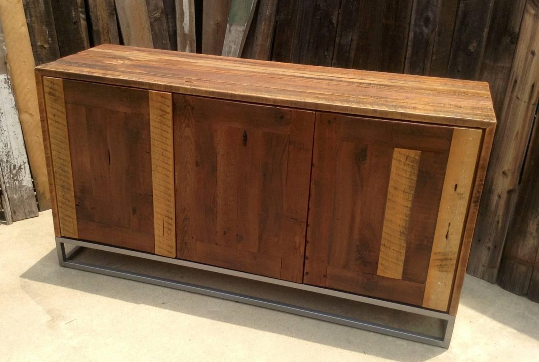 Custom Rustic Modern/ Industrial Reclaimed Wood Buffet Cabinet regarding Reclaimed Wood Sideboards (Image 2 of 15)