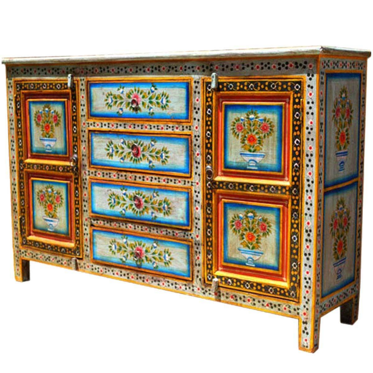 Dahlia Hand Painted 4 Drawer Sideboard with regard to Hand Painted Sideboards (Image 1 of 15)