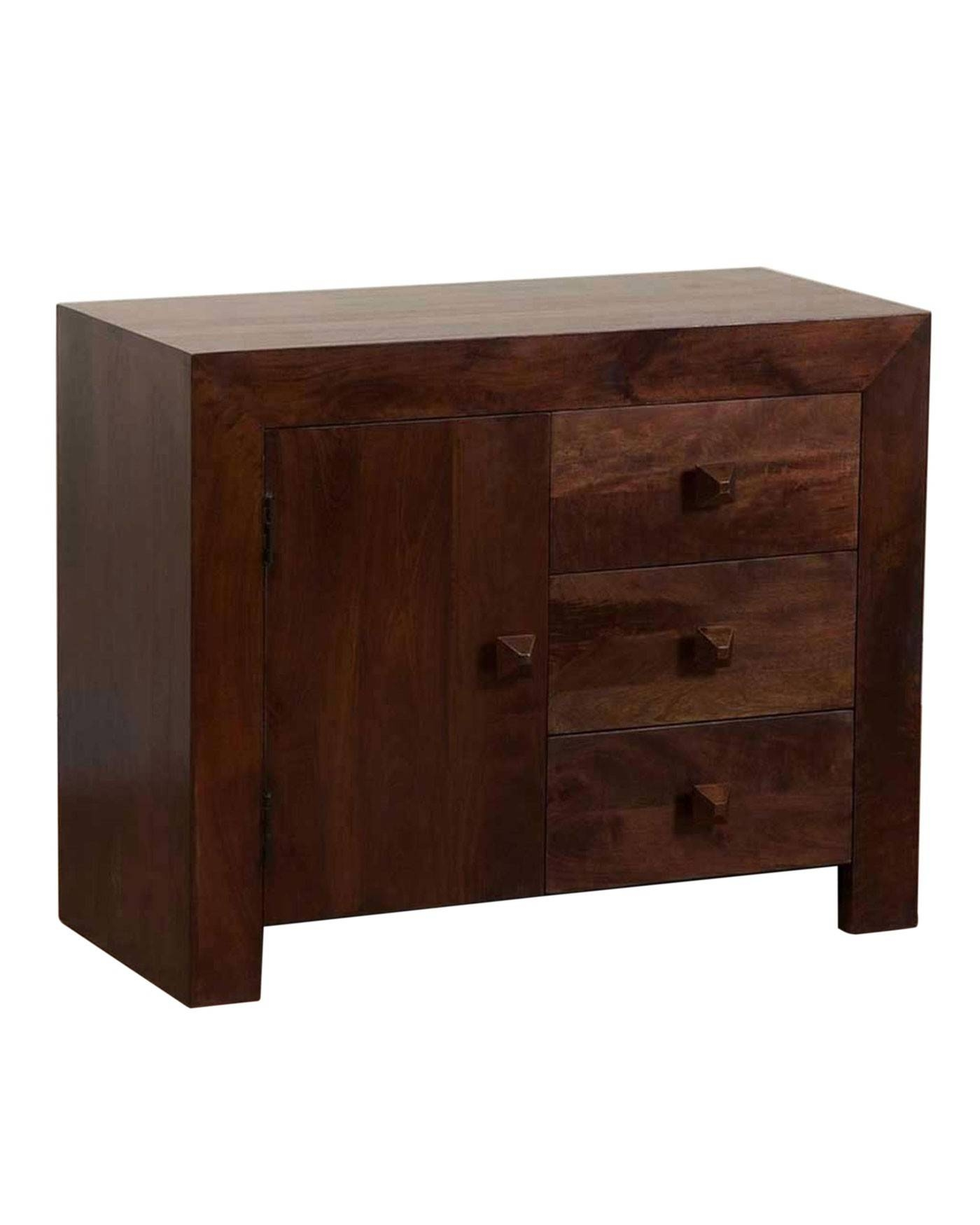 Dakota Small Sideboard With 3 Drawers Dark Shade - Homescapes throughout Dark Wood Sideboards (Image 1 of 15)