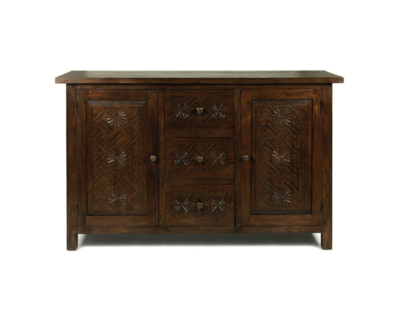 Dark Wood Sideboard | Carved Reclaimed Teak Sideboard With Regard To Dark Wood Sideboards (Photo 1 of 15)