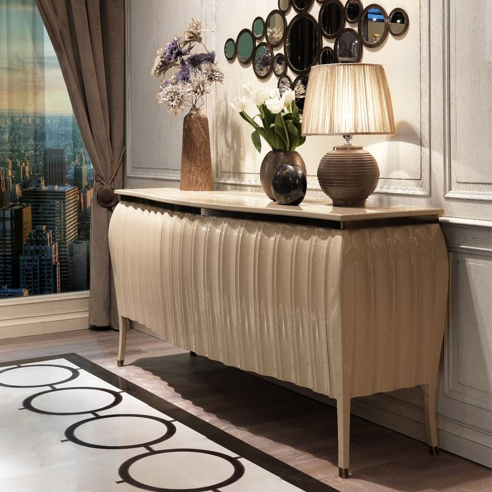 Designer High Gloss Lacquered Sideboard Buffet | Juliettes in High Gloss Cream Sideboards (Image 5 of 15)
