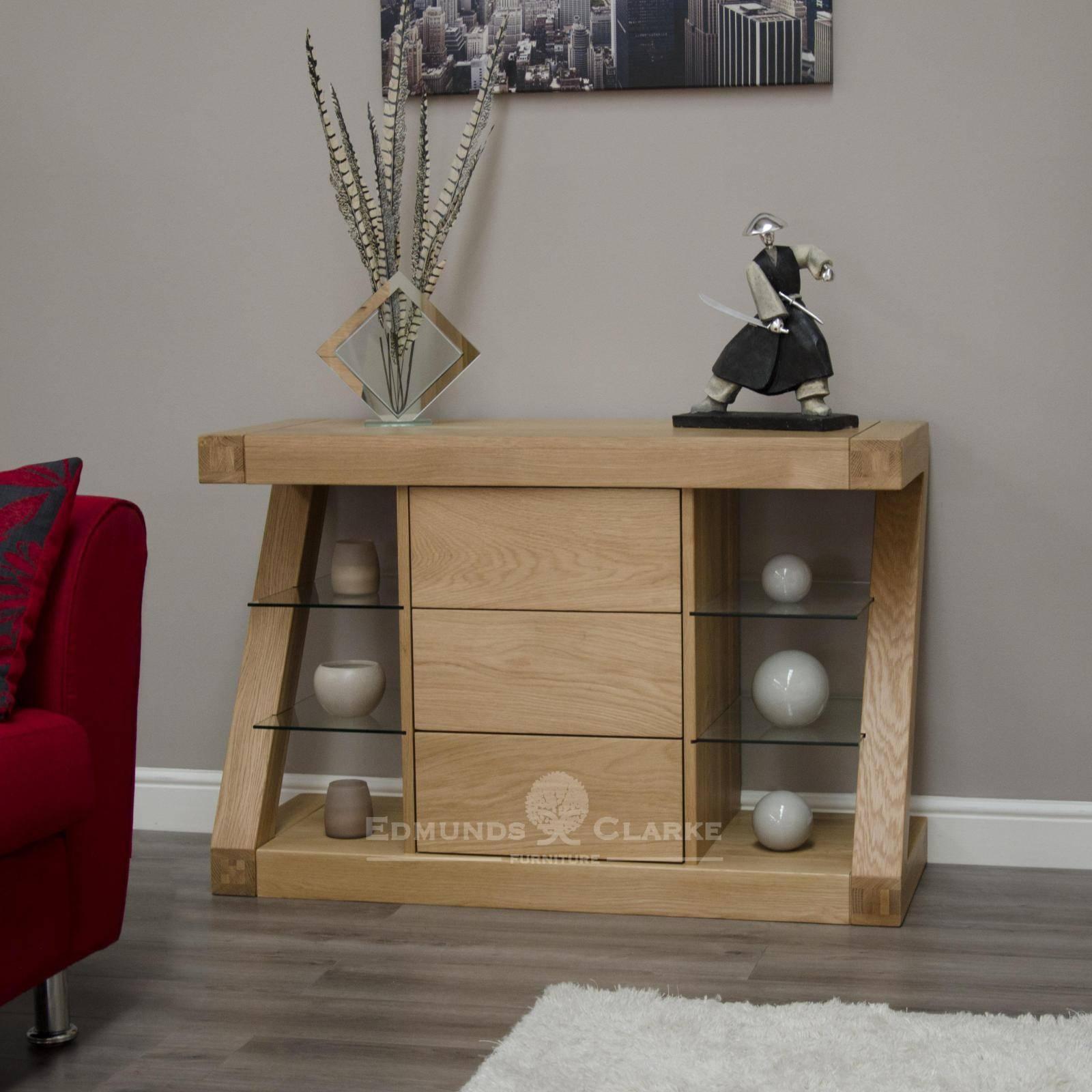 Designer Solid Oak Small Sideboard - Oak Sideboards For The in Lounge Sideboards (Image 3 of 15)
