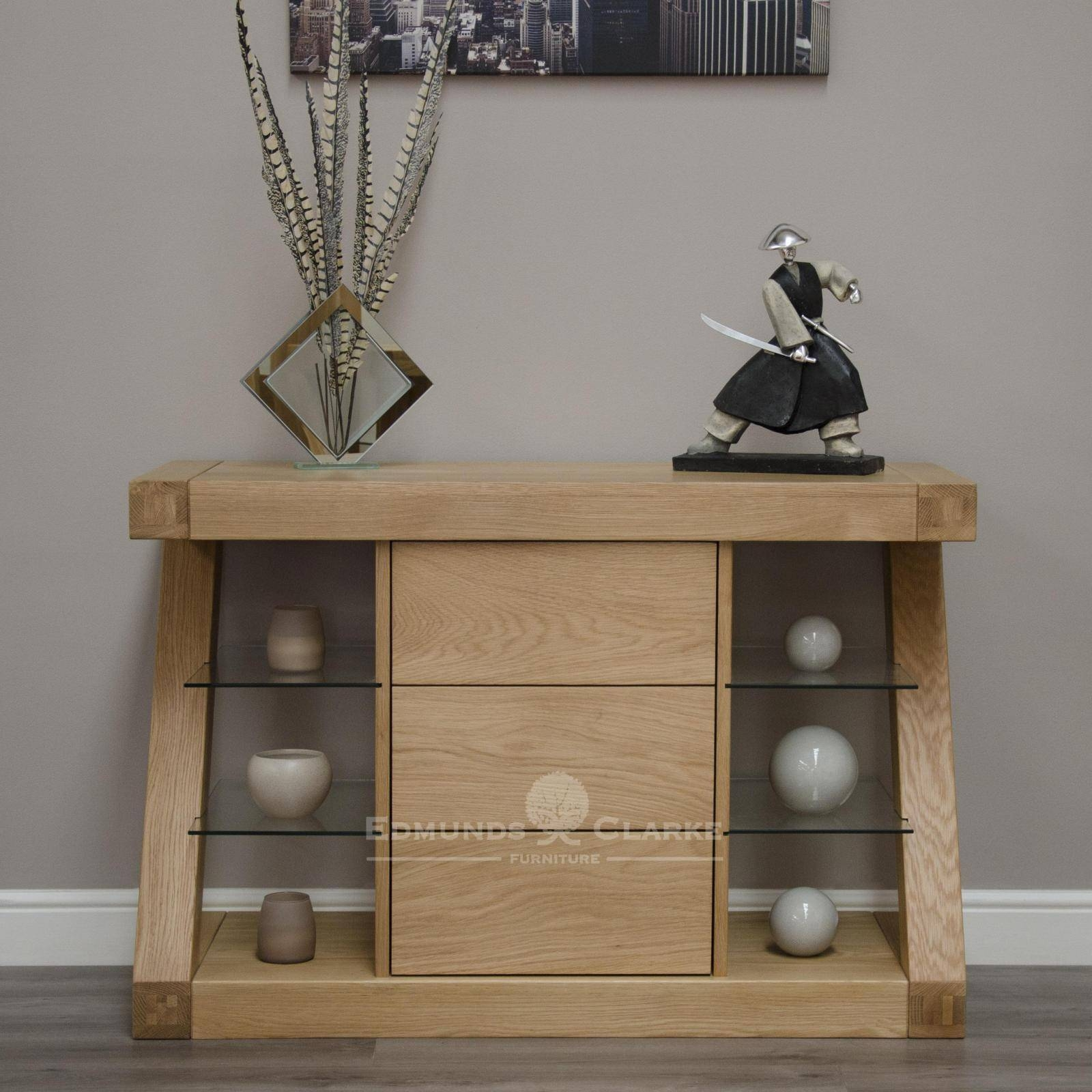 Designer Solid Oak Small Sideboard - Oak Sideboards For The throughout Lounge Sideboards (Image 4 of 15)
