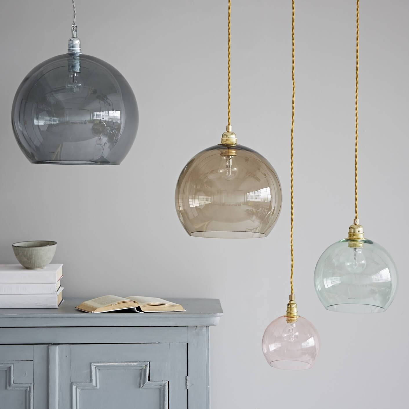 Diferent Colored Clear Glass Pendant Lights Flow Blue Cabinet Grey with regard to Round Glass Pendant Lights (Image 3 of 15)