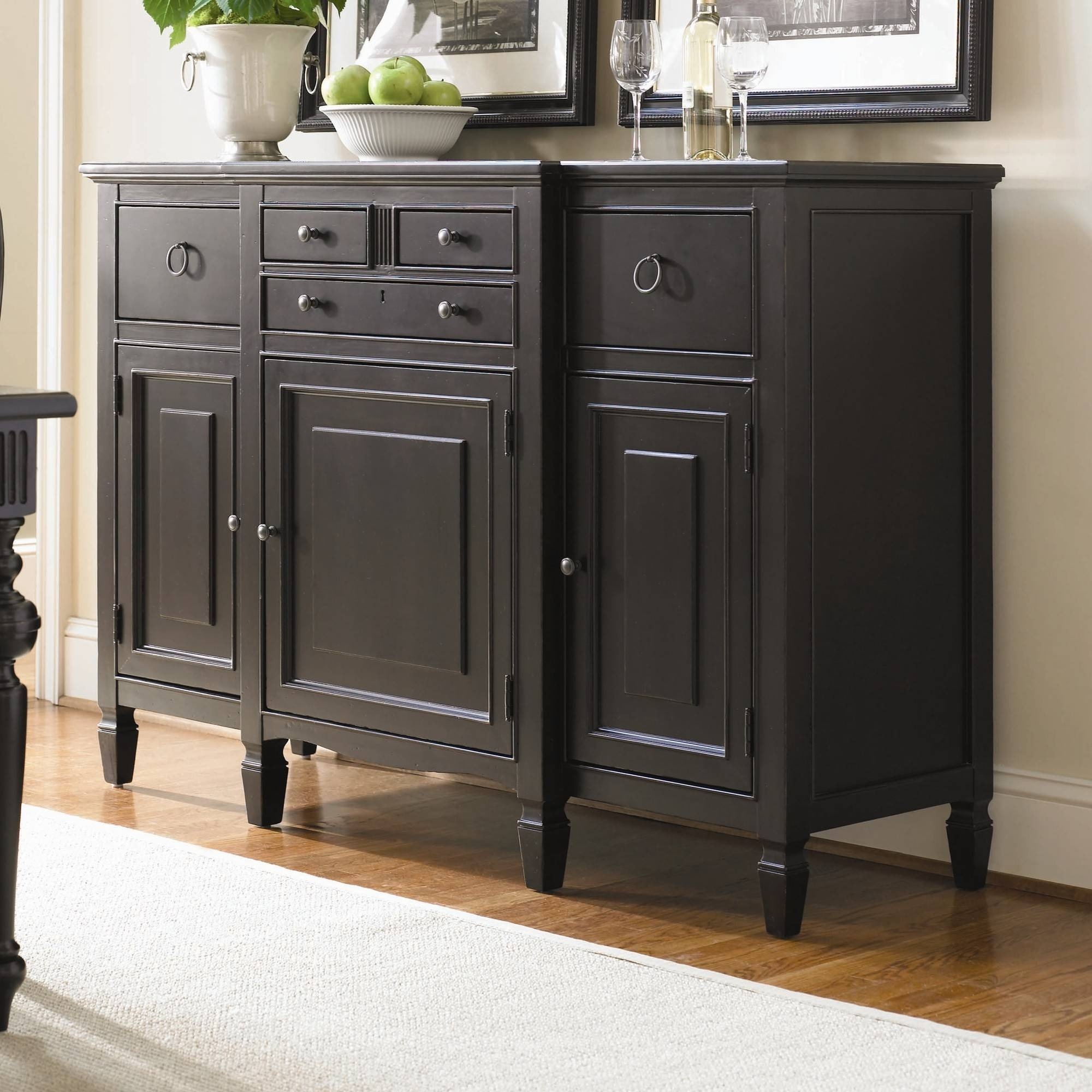 Dining Room Buffet Cabinet Sideboards Buffets Storage Servers 17 pertaining to Black Dining Room Sideboards (Image 5 of 15)