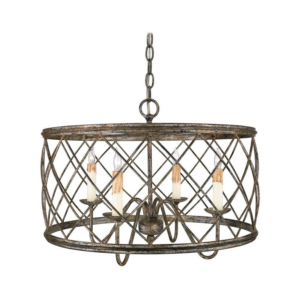 Drum Pendant Light With Silver Cage Shade In Century Silver Leaf intended for Bronze Cage Pendant Lights (Image 6 of 15)