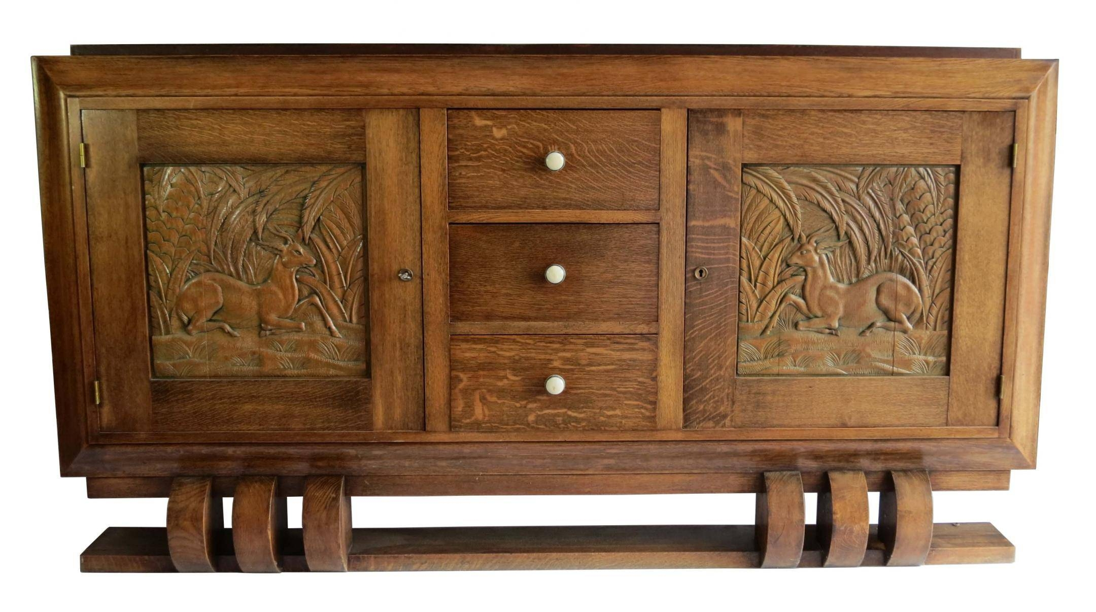 Dudouyt French Art Deco Sideboard With Carved Biches | Modernism intended for Art Deco Sideboards (Image 6 of 15)