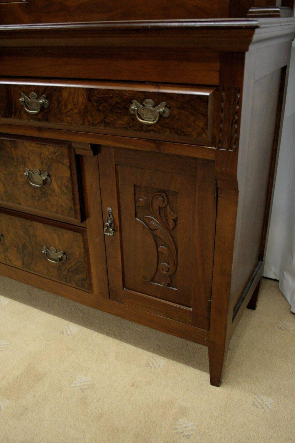 Edwardian Mahogany Mirror Backed Sideboard - Antiques Atlas inside Antique Sideboards With Mirror (Image 5 of 15)