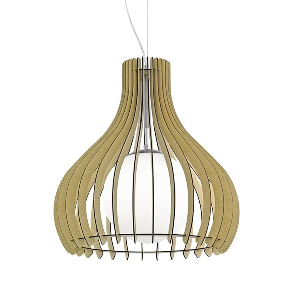 Eglo 96214 Tindori Wooden Pendant Light Glass Diffuser Maple Finish Intended For Wooden Pendant Lighting (View 4 of 15)