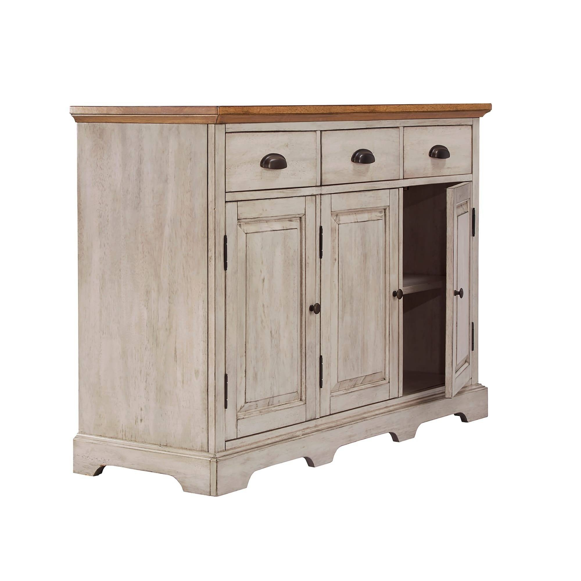Eleanor Two Tone Wood Cabinet Buffet Serverinspire Q Classic Pertaining To 50 Inch Sideboards (View 10 of 15)