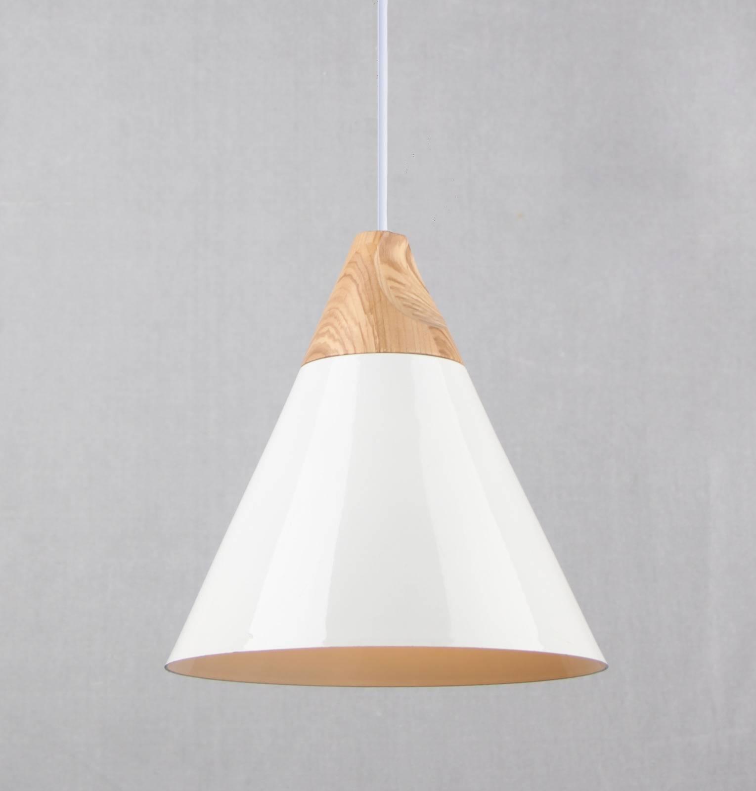Elias White Metal/wooden Pendant Light – Hampton & Harlow Intended For Wooden Pendant Lighting (View 15 of 15)
