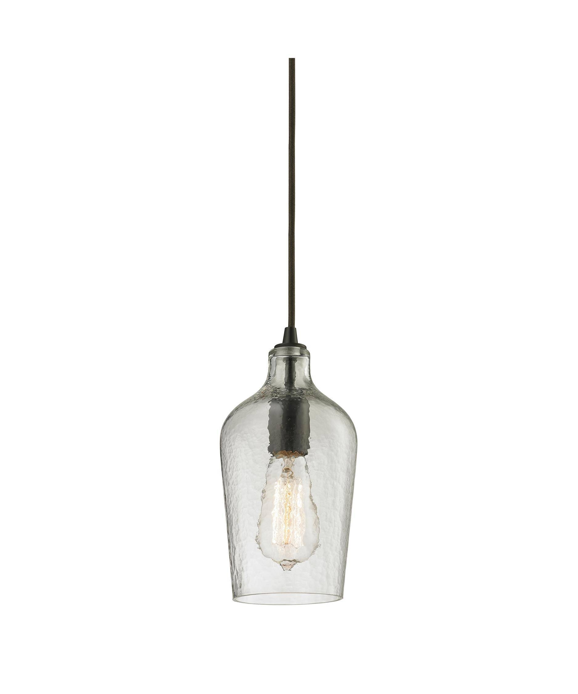 Elk Lighting 10331 1 Hammered Glass 2 Inch Wide 1 Light Mini Throughout Clear Glass Mini Pendant Lights (View 6 of 15)