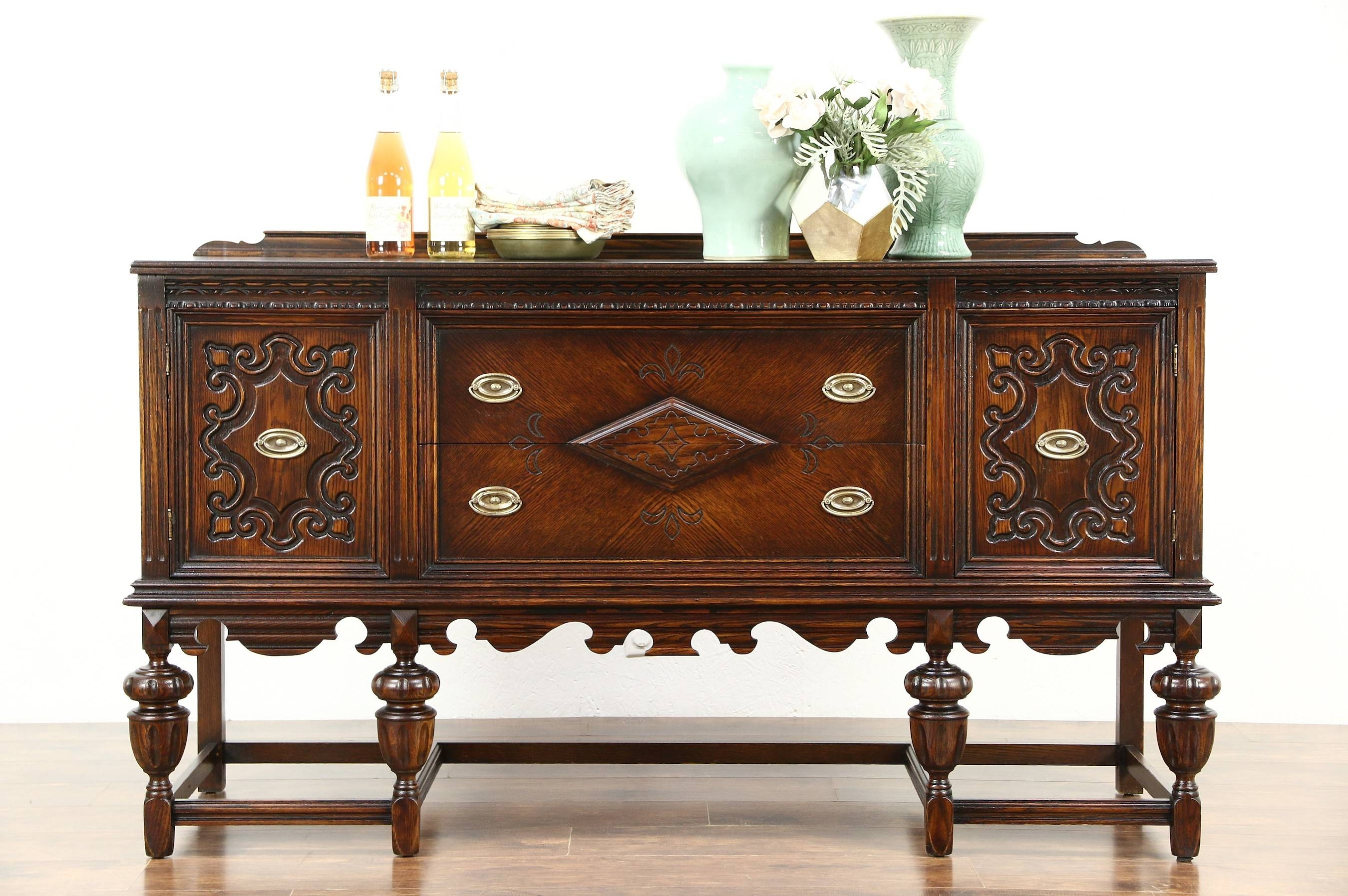 English Tudor 1920 Antique Carved Oak Sideboard, Server Or Buffet intended for Antique Oak Sideboards (Image 8 of 15)