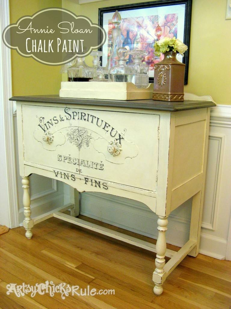 Estate Sale Sideboard With Chalk Paint Graphics (2Nd Time's The with regard to Chalk Painted Sideboards (Image 8 of 15)