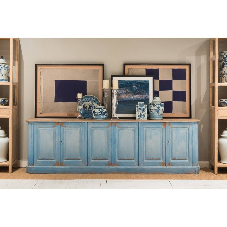 Extra Long Sky Blue Sideboard – Farmhouse Chic Regarding Long Sideboards (View 6 of 15)