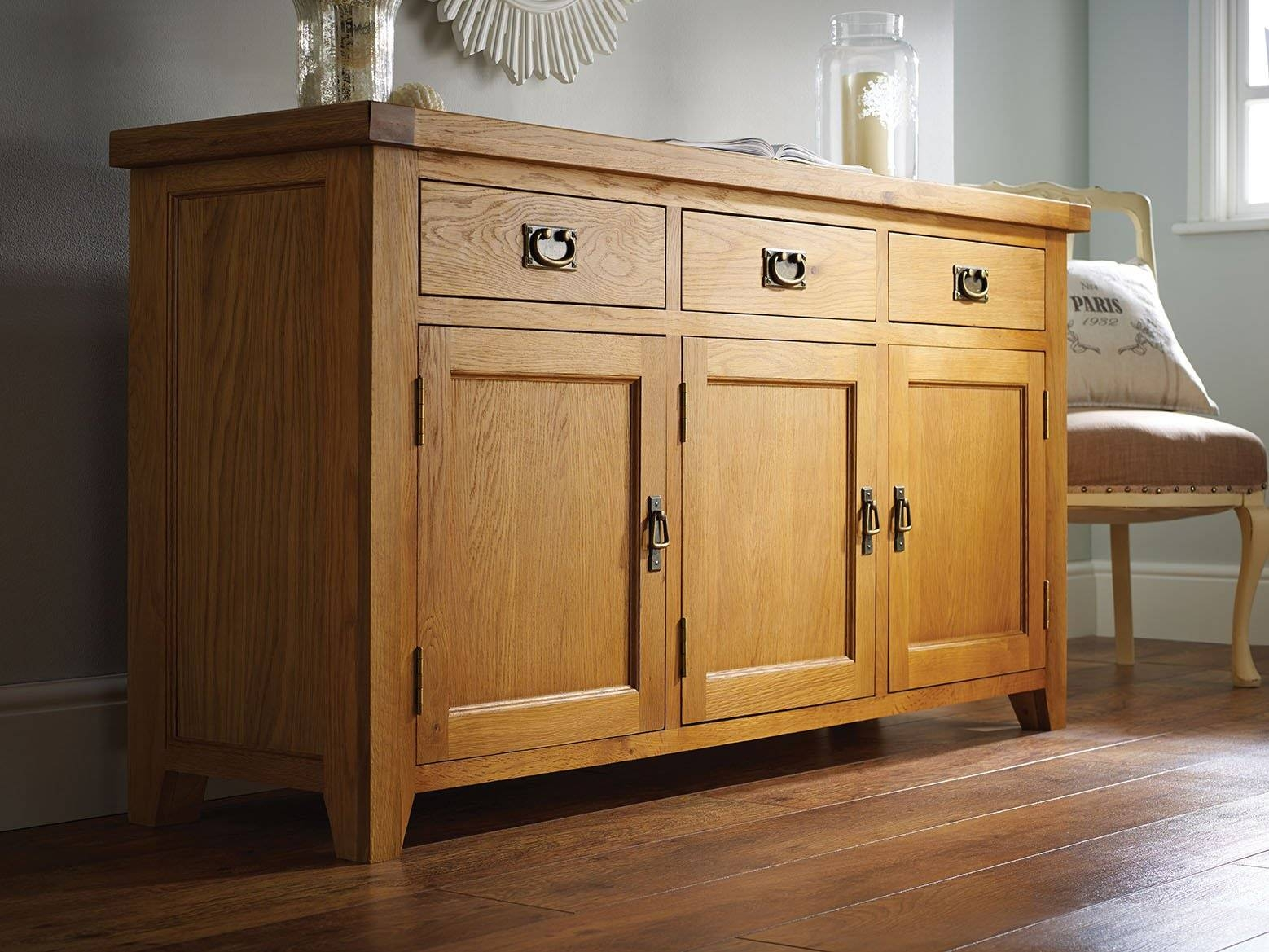 Farmhouse Country Oak Large Oak Sideboard - Just £399 - Youtube inside Farmhouse Sideboards (Image 4 of 15)