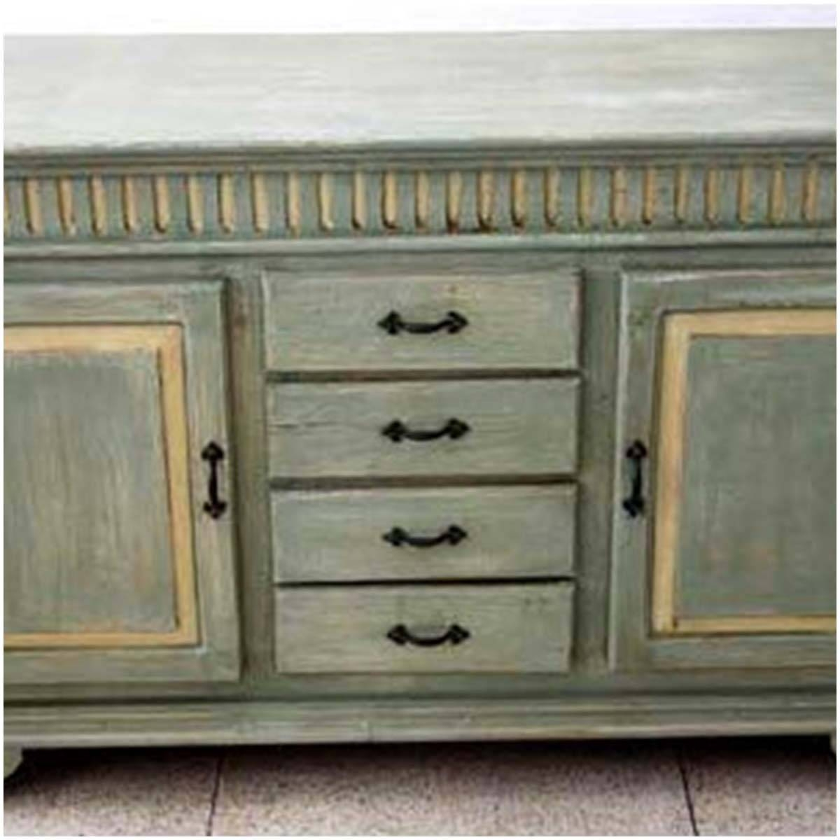Farmhouse Distressed Hand Painted 4 Drawer Sideboard Inside Hand Painted Sideboards (Photo 15 of 15)