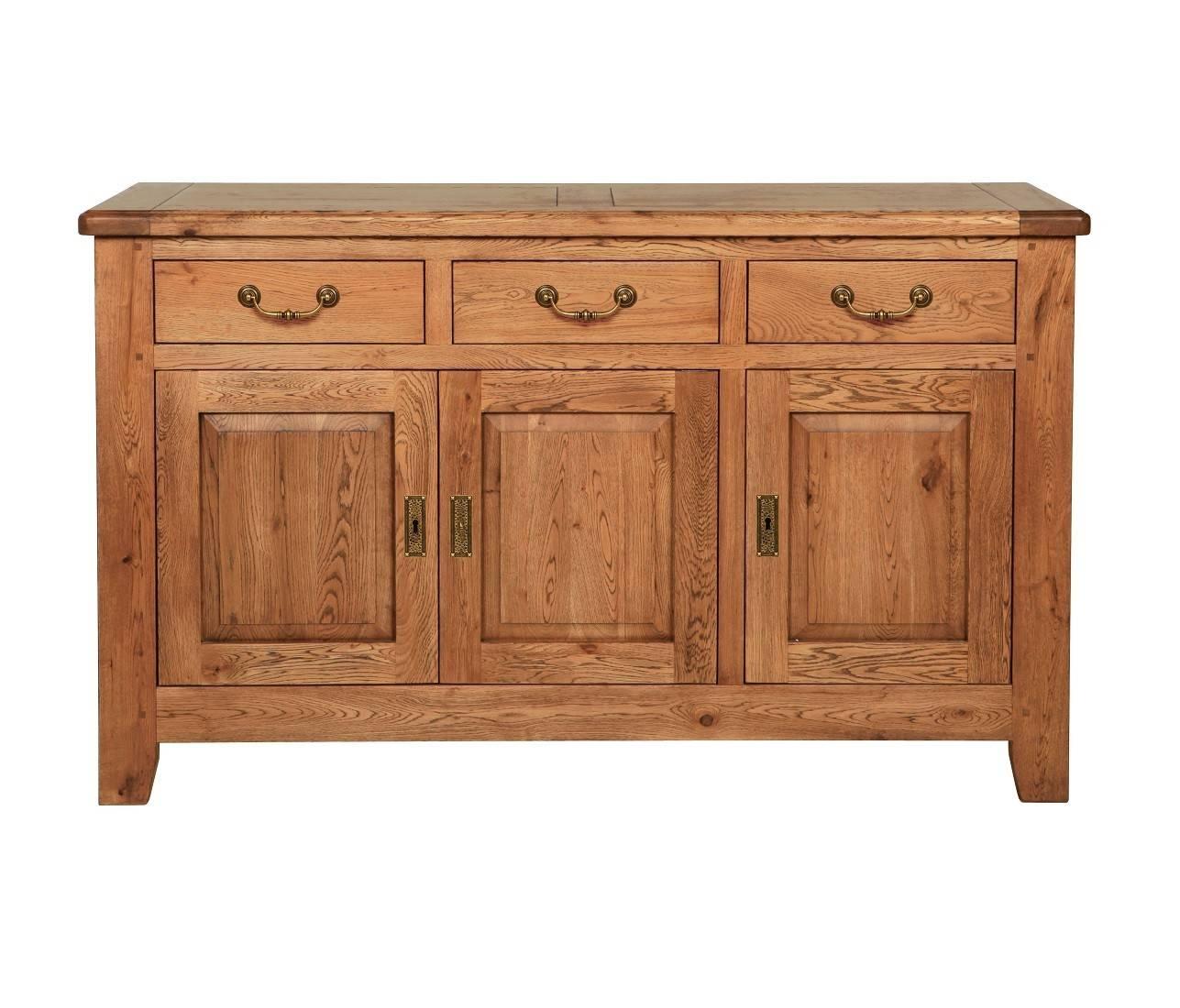 Farmhouse Rustic Oak Large Sideboard | Oak Furniture Uk regarding Rustic Oak Large Sideboards (Image 6 of 15)