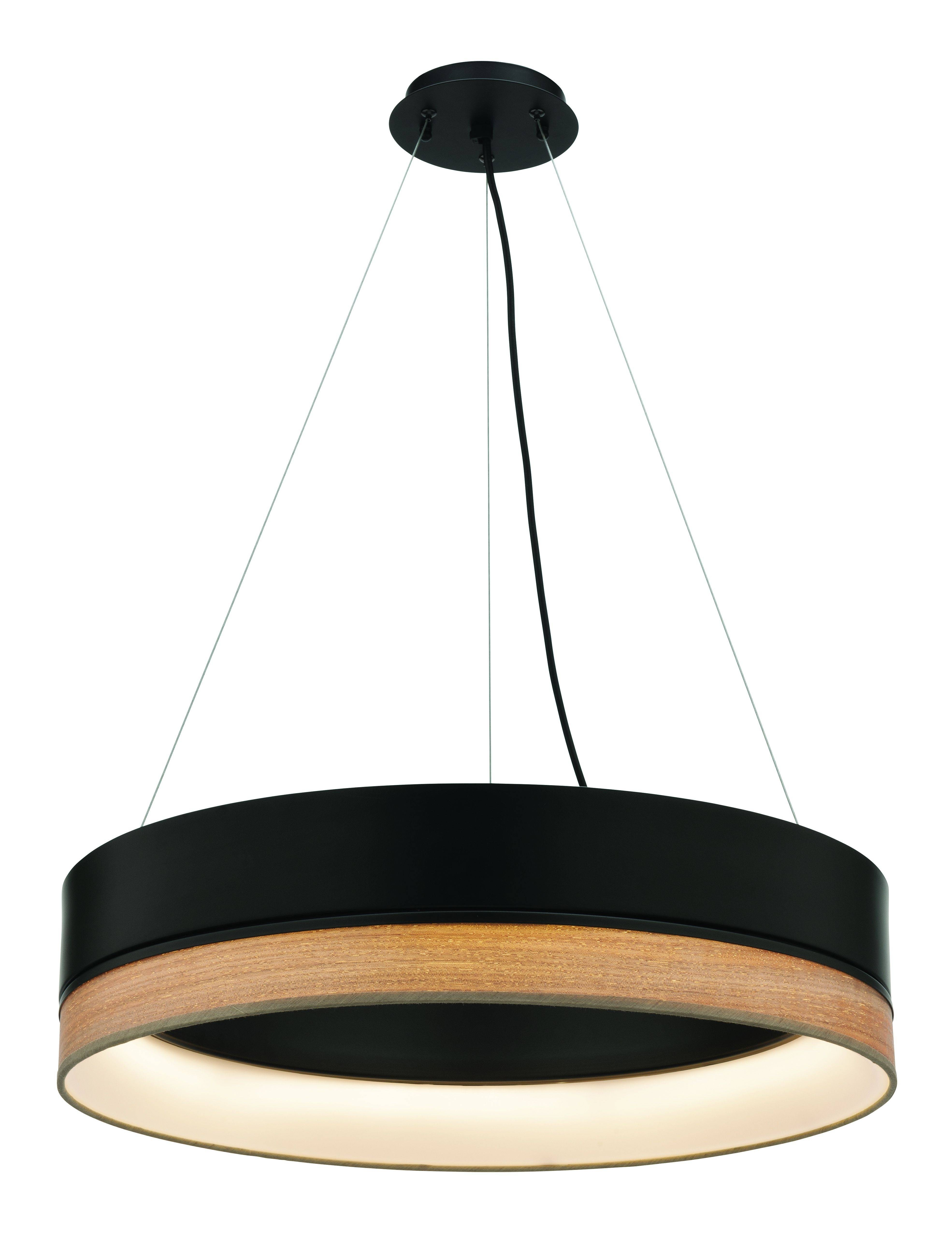Fitzgerald 24w Dimmable Led Pendant(ml7224blk) Black Metal With With Timber Pendant Lights (View 5 of 15)