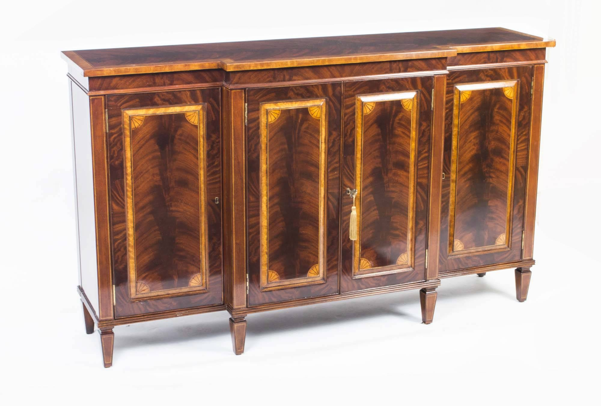 Flame Mahogany Four Door Sideboard Credenza Chiffonier intended for Credenza Sideboards (Image 4 of 15)