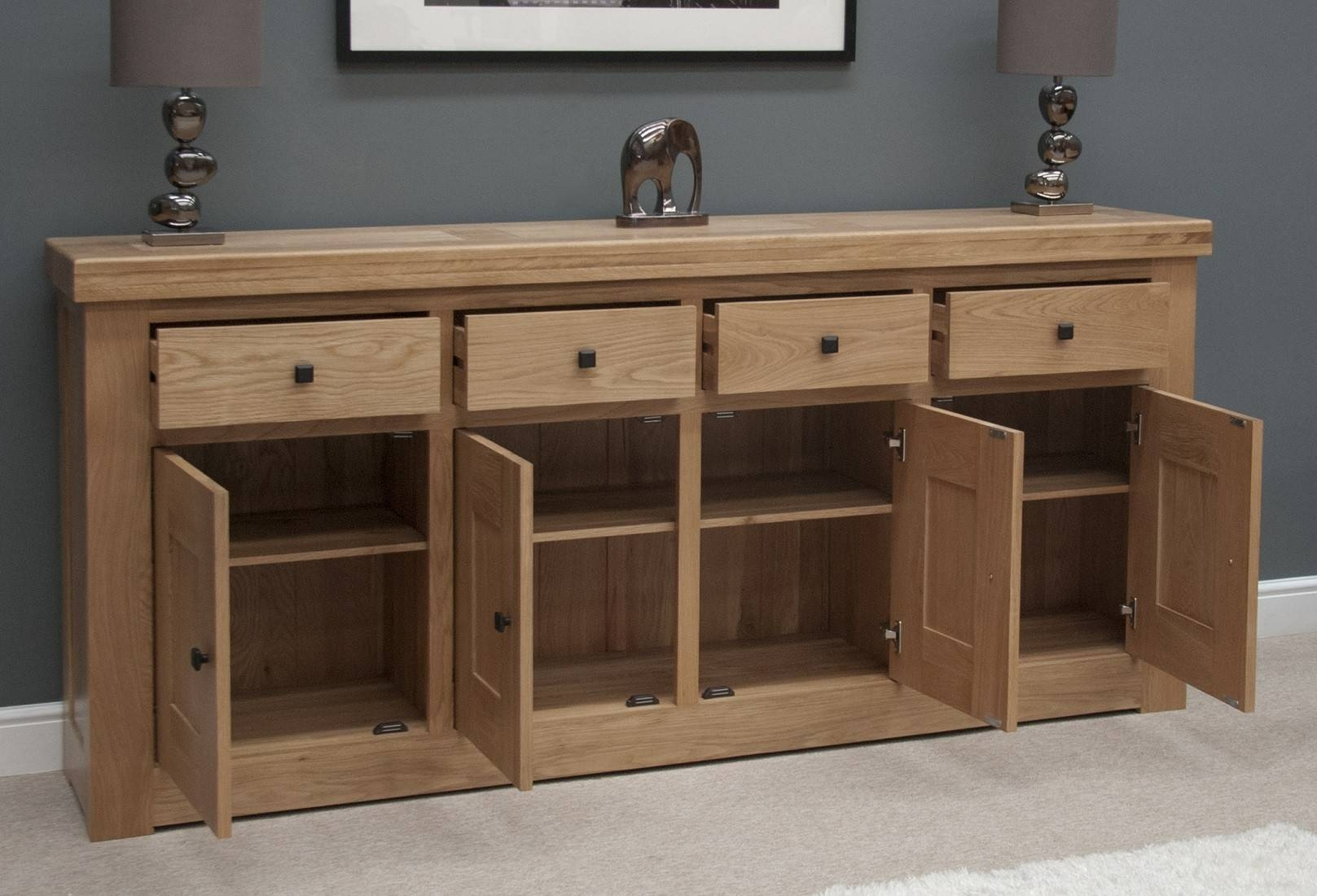 French Bordeaux Oak Extra Large 4 Door Sideboard | Oak Furniture Uk pertaining to Rustic Oak Large Sideboards (Image 7 of 15)