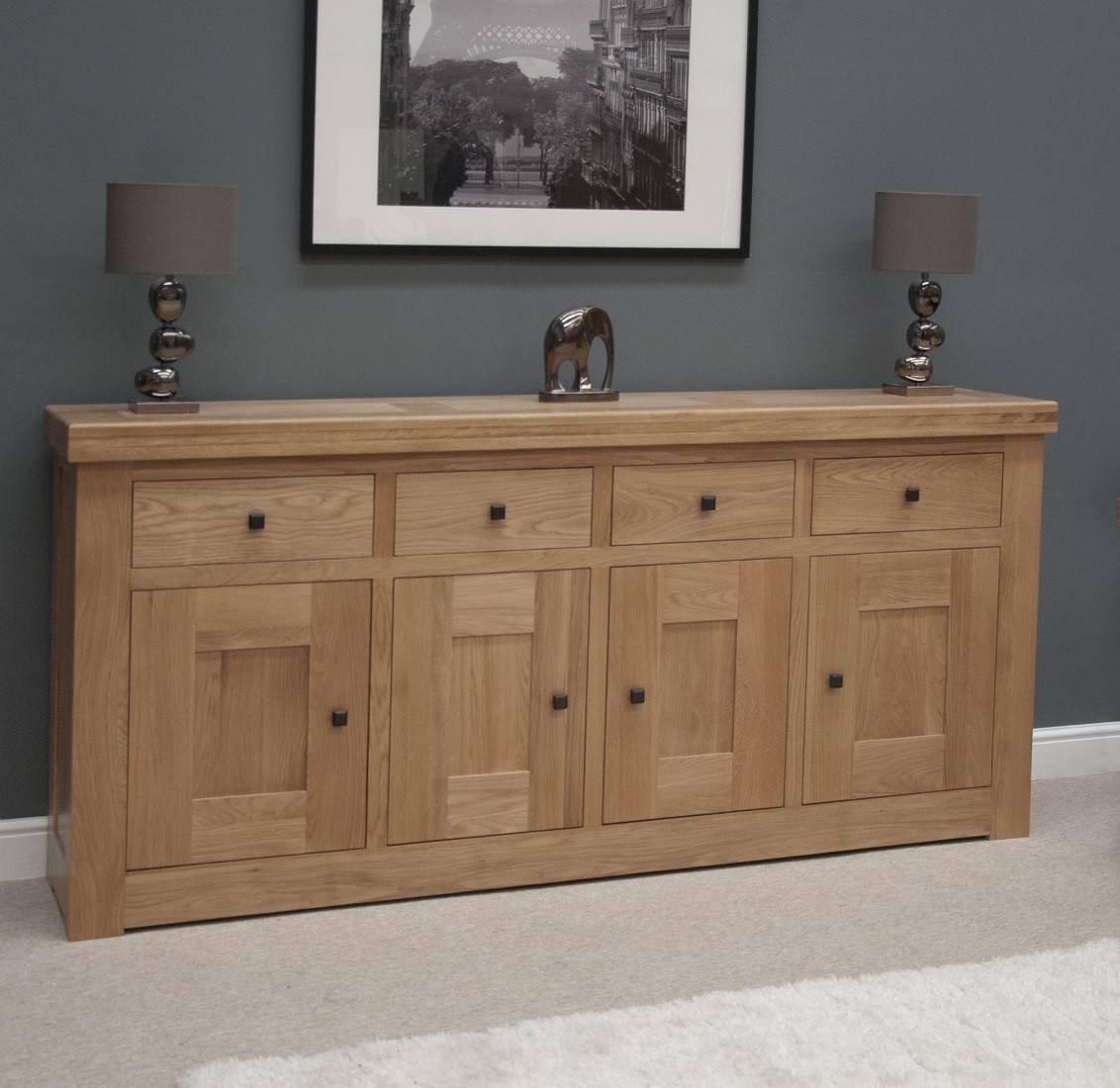 French Bordeaux Oak Extra Large 4 Door Sideboard | Oak Furniture Uk Throughout Rustic Oak Large Sideboards (View 11 of 15)