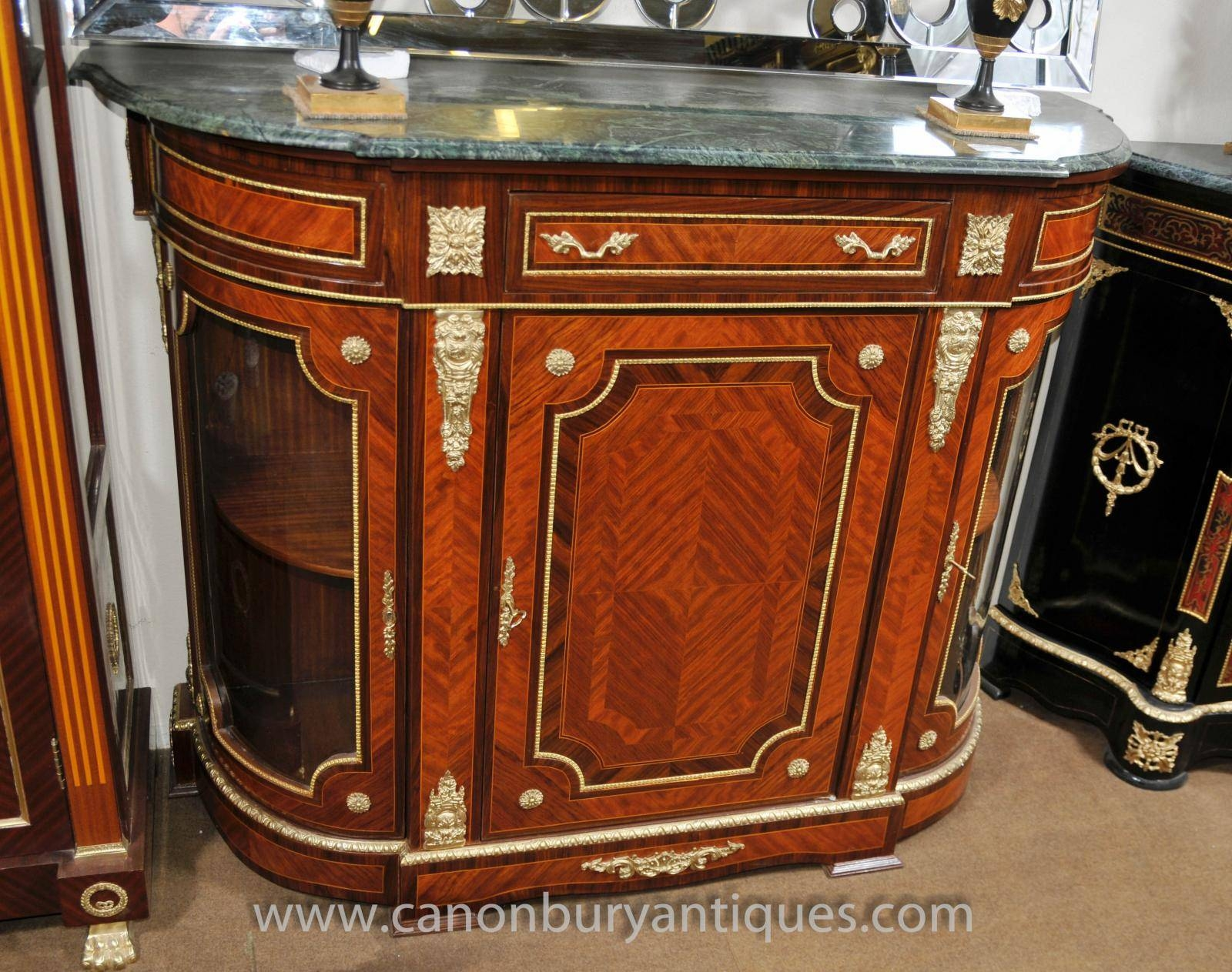 French Empire Cabinet Sideboard Kingwood Marble Top Credenza Inside Sideboards With Marble Tops (View 5 of 15)