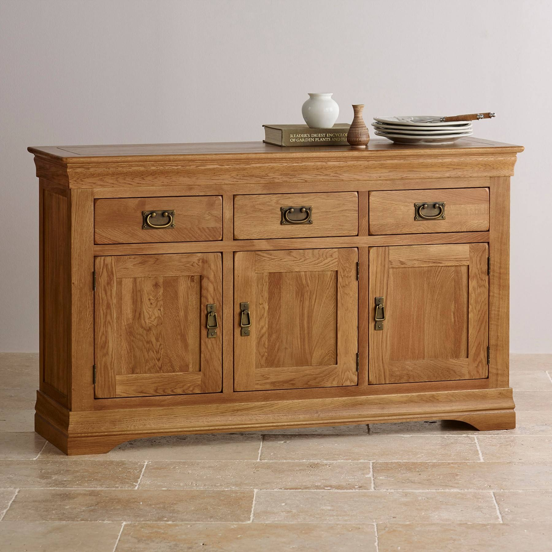 French Farmhouse Rustic Solid Oak Large Sideboard | Sideboards pertaining to Rustic Oak Large Sideboards (Image 9 of 15)