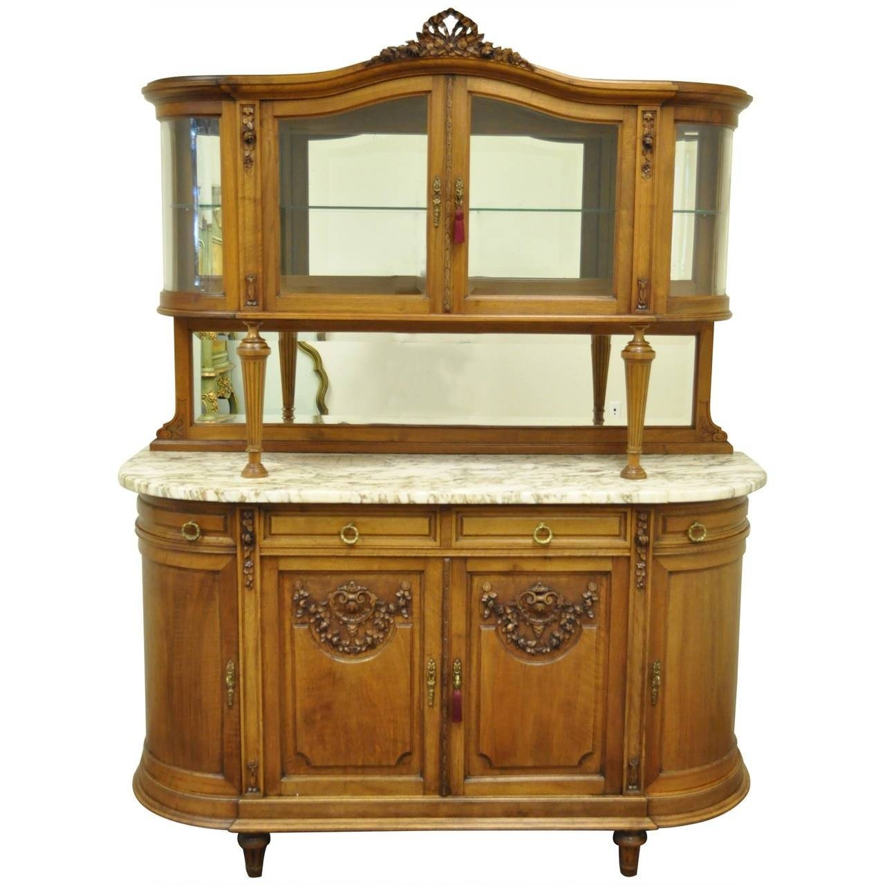 French Louis Xvi Style Marble-Top Sideboard Or Curio Cabinet for Antique Marble Top Sideboards (Image 7 of 15)
