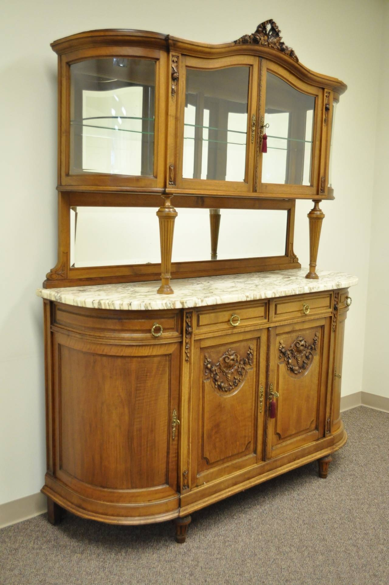 French Louis Xvi Style Marble Top Sideboard Or Curio Cabinet With Regard To Sideboards With Marble Tops (View 9 of 15)