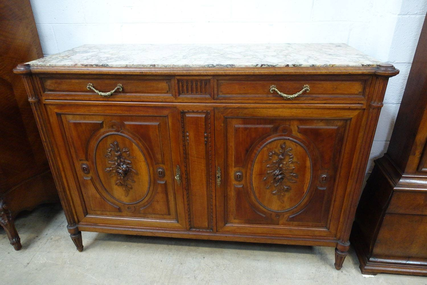 French Walnut Marble Top Sideboard – French Antiques Melbourne For Sideboards With Marble Tops (View 6 of 15)