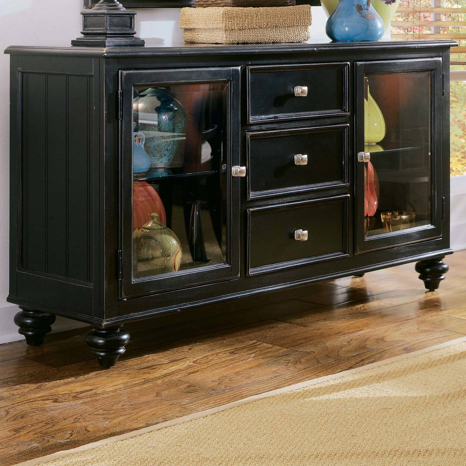 Furniture: Corner Sideboard Buffet On Kahrs Flooring And White Regarding Buffet Server Sideboards (View 9 of 15)