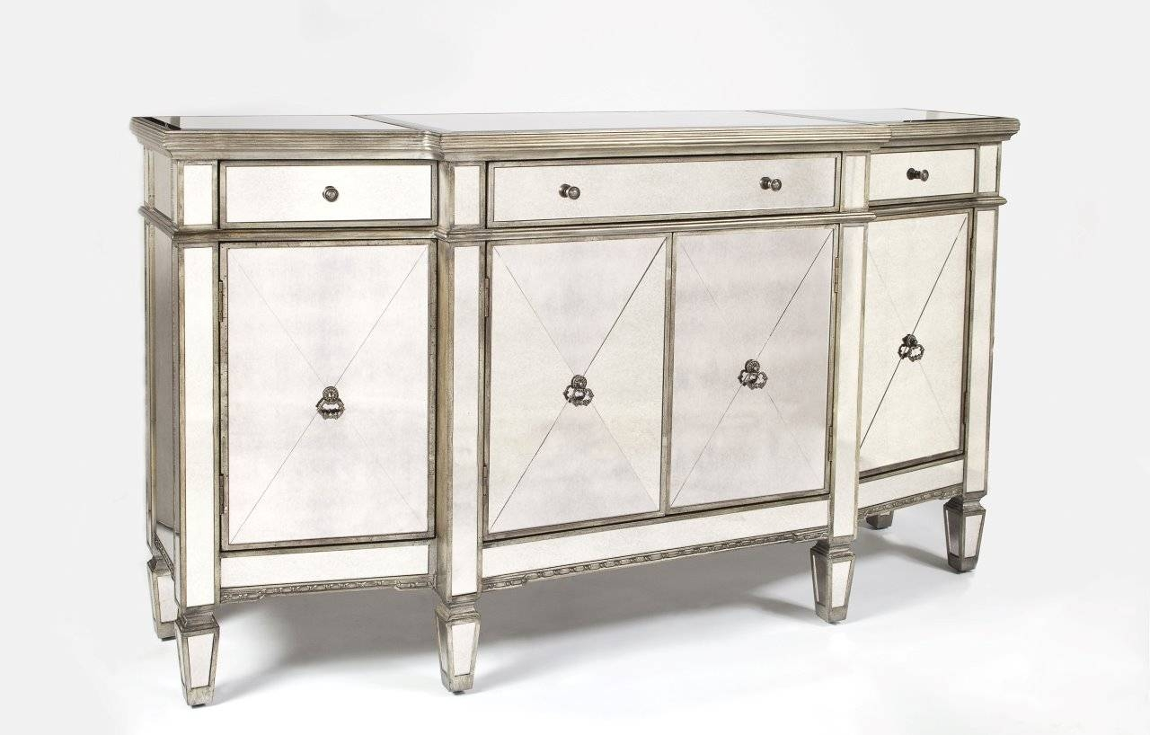 Furniture: Exciting Mirrored Buffet For Bedroom Design Ideas With pertaining to Mirrored Buffet Sideboards (Image 4 of 15)
