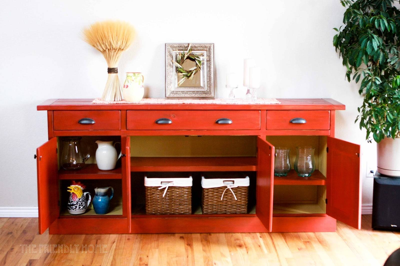 Furniture: Red Buffets And Sideboards And Limante Basket Wickers for Red Sideboards Buffets (Image 2 of 15)