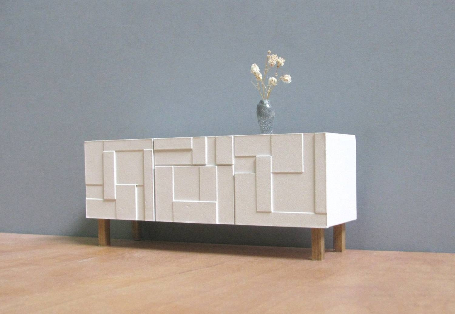 Furniture: White Paint Modern Sideboard With Glass Credenza Also with regard to Credenza Sideboards (Image 5 of 15)