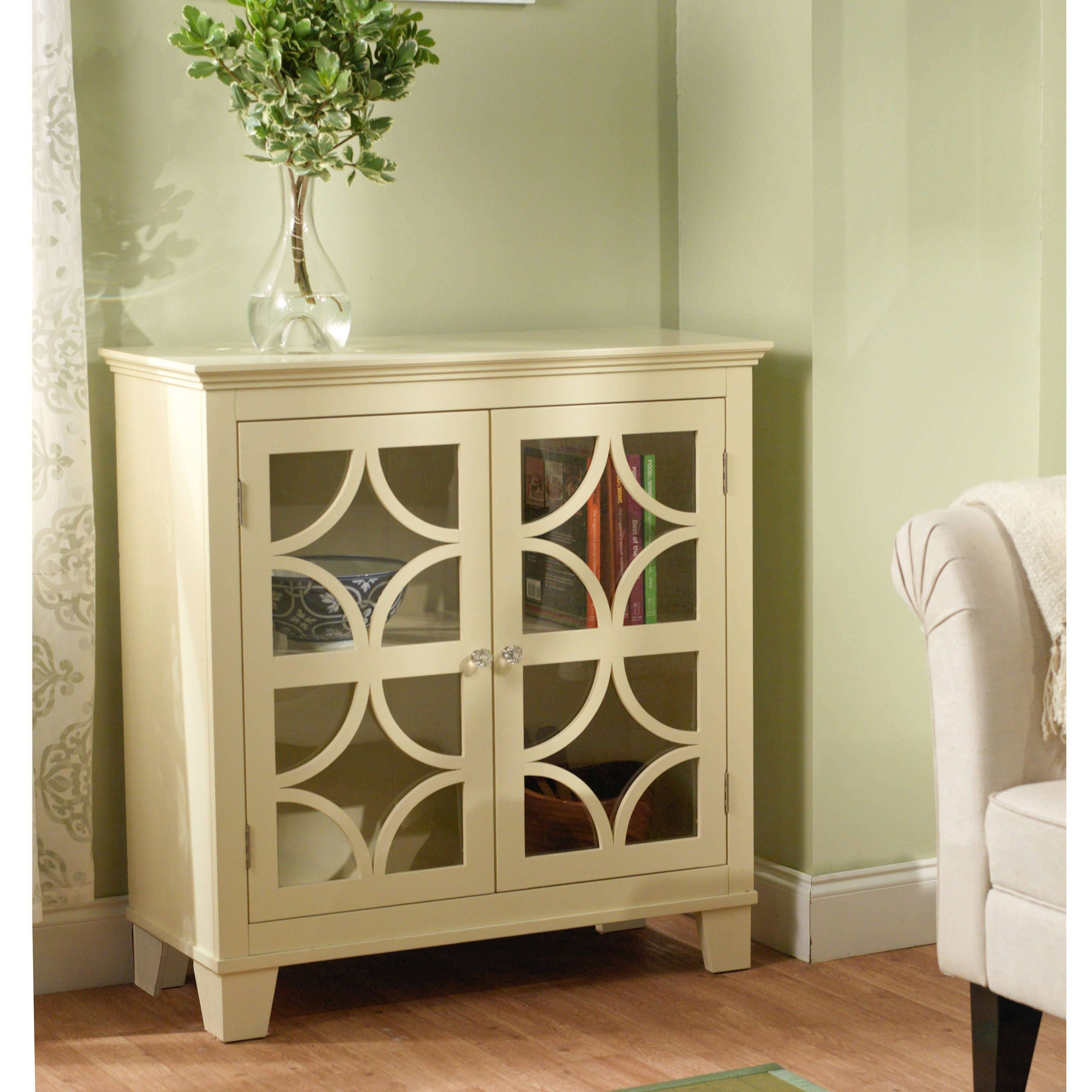 Furniture: White Sideboard Buffet With Two Drawers And Glass Door inside White Sideboards With Glass Doors (Image 7 of 15)