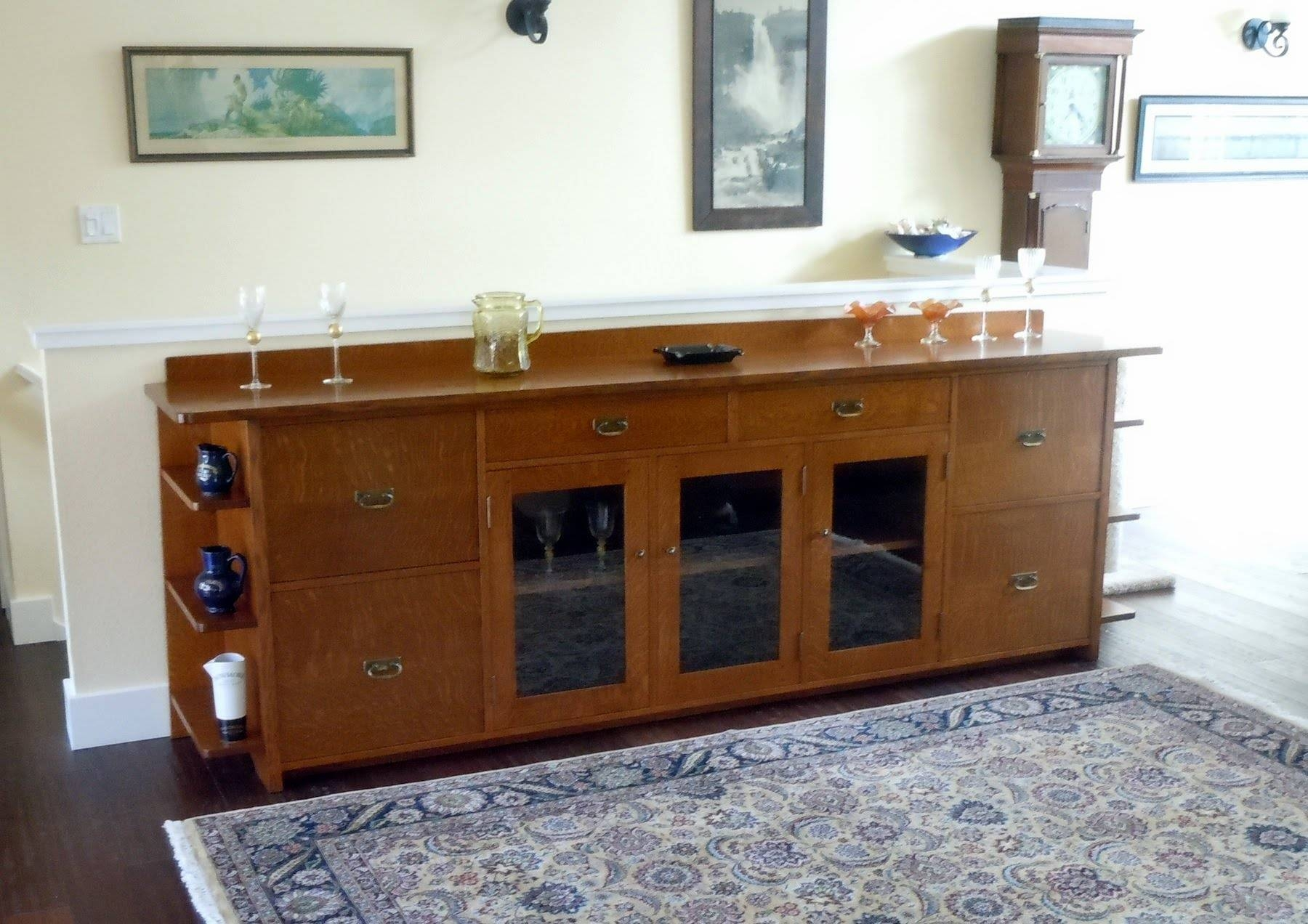 Furniture: White Sideboard Buffet With Two Drawers And Glass Door with Glass Door Buffet Sideboards (Image 8 of 15)
