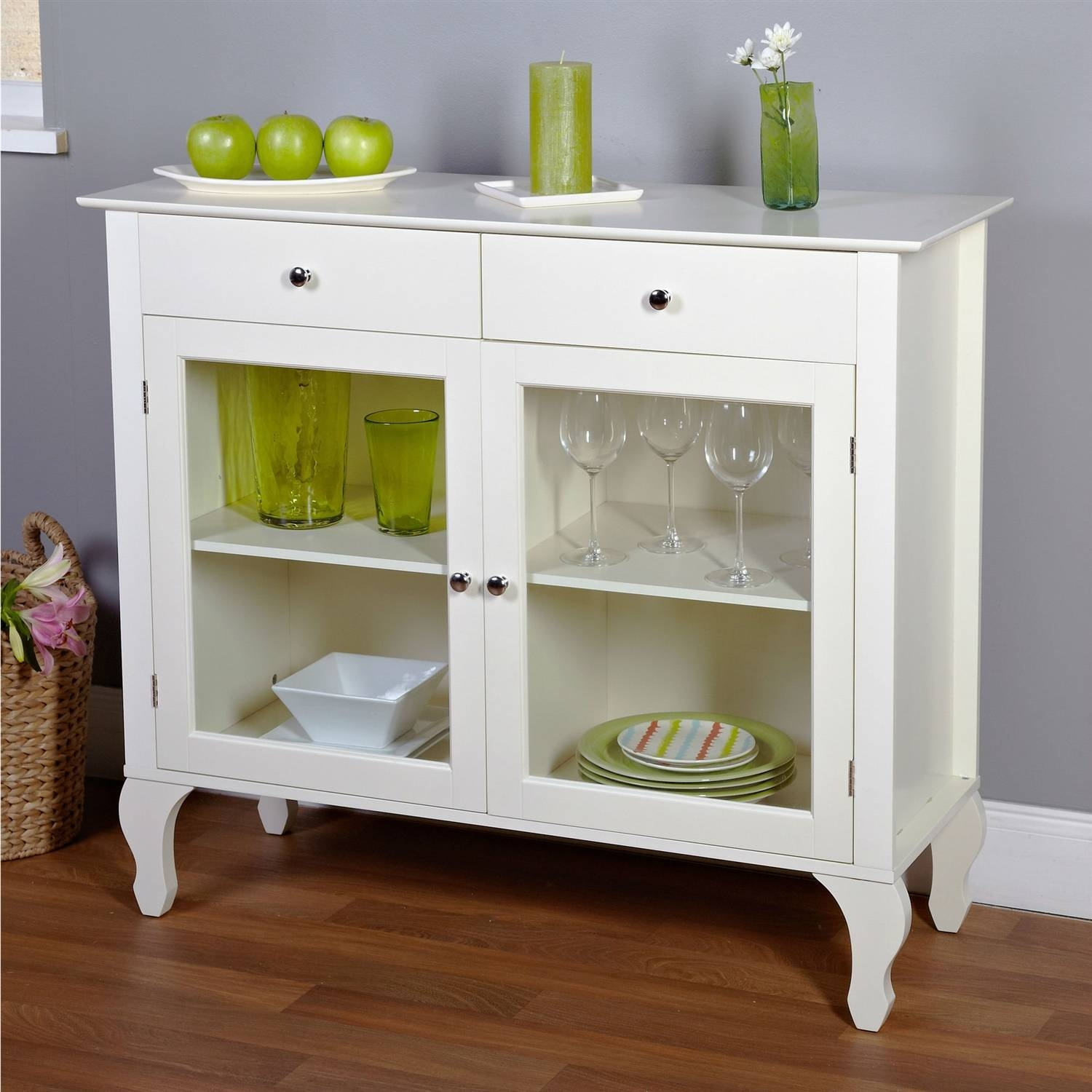 Furniture: White Sideboard Buffet With Two Drawers And Glass Door With Regard To White Buffet Sideboards (View 10 of 15)