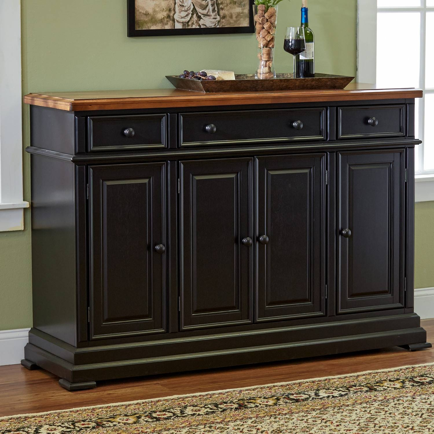 Furniture: White Sideboard Buffet With Unique Black Table Lamp And throughout Black Buffet Sideboards (Image 5 of 15)