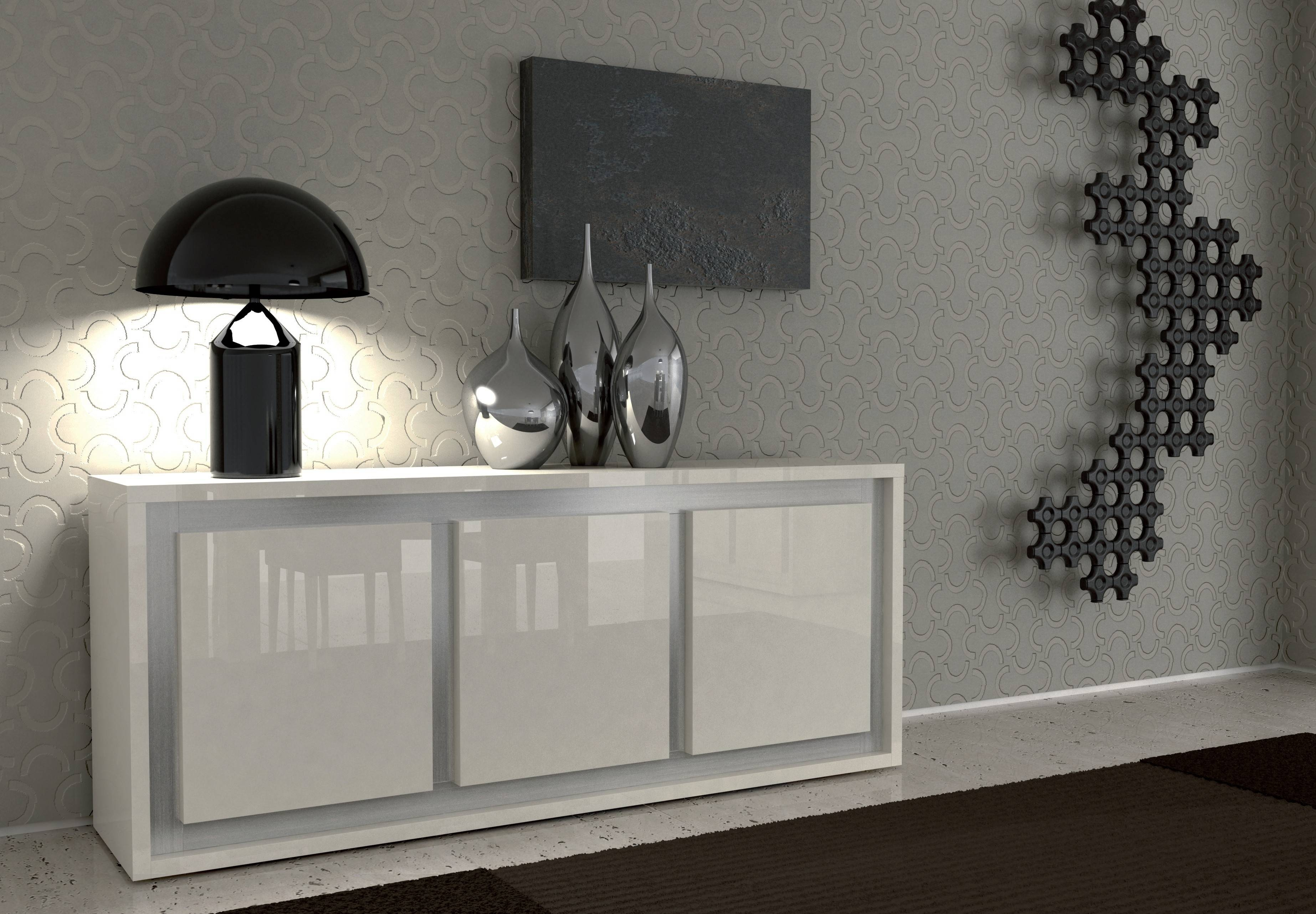 Furniture: White Sideboard Buffet With Unique Black Table Lamp And within Modern Buffet Sideboards (Image 8 of 15)