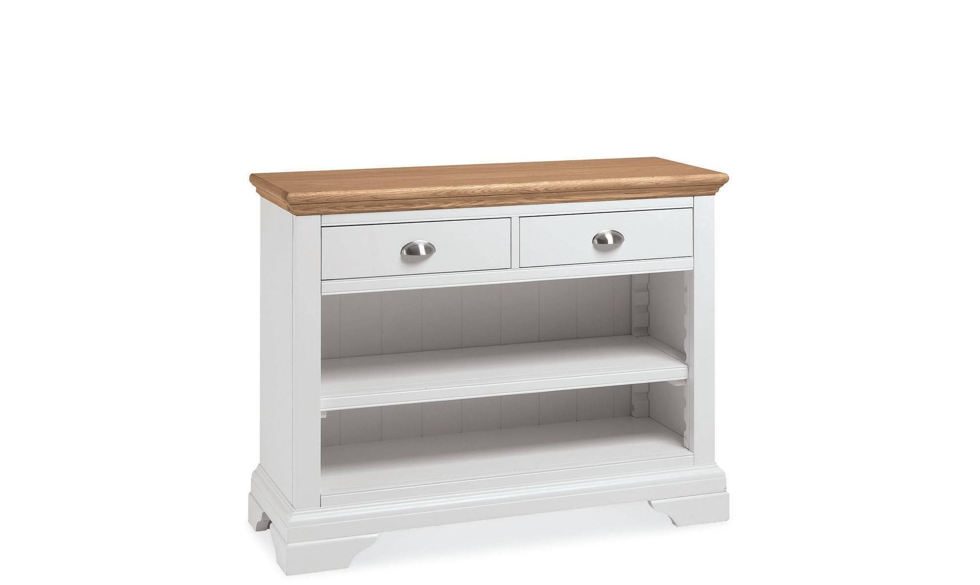 Georgie - Natural Oak Console Table - Cream - Fishpools regarding Cream and Oak Sideboards (Image 8 of 15)