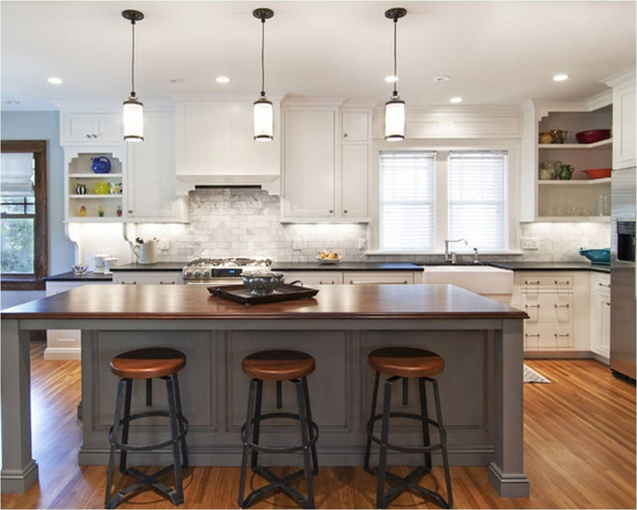 Glass Pendant Lights For Kitchen Island Rustic Kitchen Island In with Island Pendant Lights (Image 6 of 15)