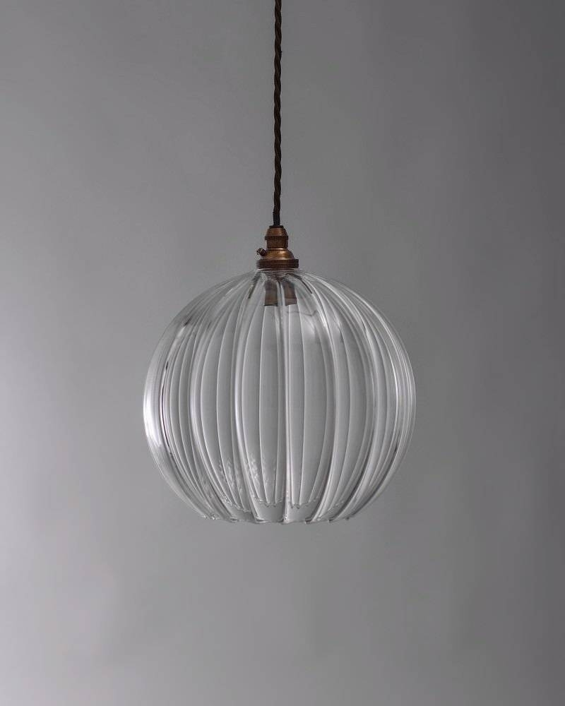 Glass Ribbed Globe Pendant Ceiling Light, Hereford Retro throughout Clear Globe Pendant Lights (Image 6 of 15)
