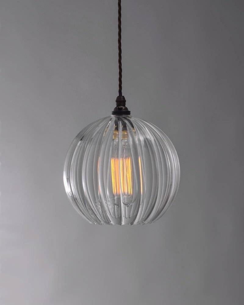 Glass Ribbed Globe Pendant Ceiling Light, Hereford Retro within Clear Glass Globe Pendant Light Fixtures (Image 4 of 15)