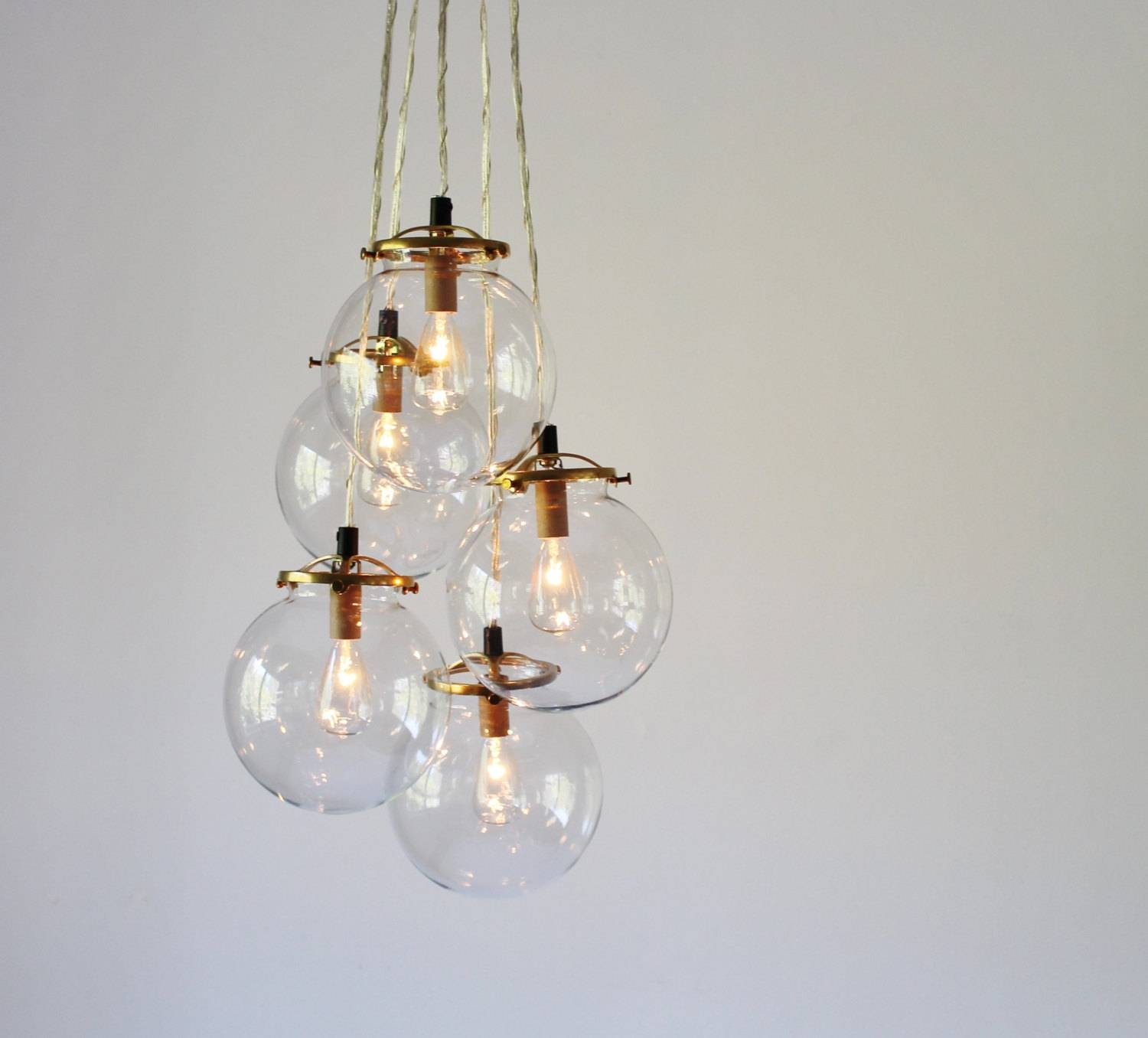Globe Chandelier Lighting Fixture 5 Hanging Clear Glass With Glass Bubble Pendant Lights (View 15 of 15)