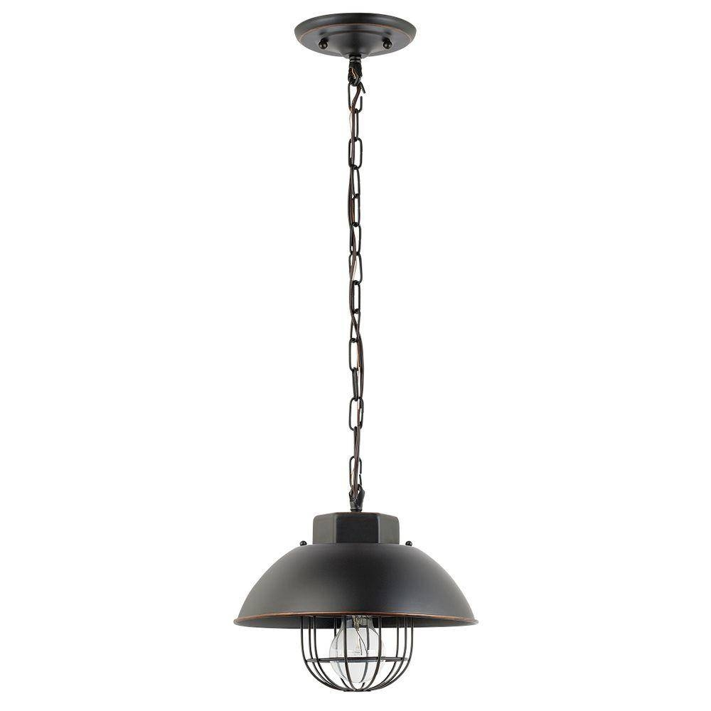 Globe Electric 10 In. 1-Light Vintage Edison Over Bulb Cage Oil inside Bronze Cage Pendant Lights (Image 8 of 15)