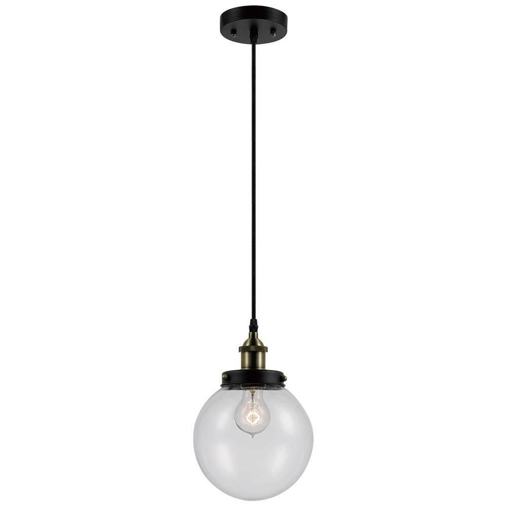 Globe Electric Daario 1 Light Bronze And Antique Brass Hanging Pertaining To Bronze Globe Pendant Lights (View 3 of 15)